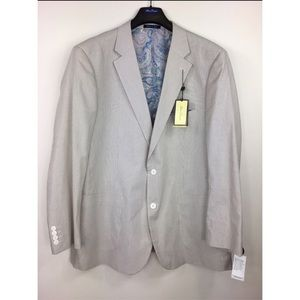Alan Flusser Men's XXL Tan Striped Blazer Jacket